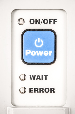 Close up of a power button, on and off. Hardware equipment concept, in a white background