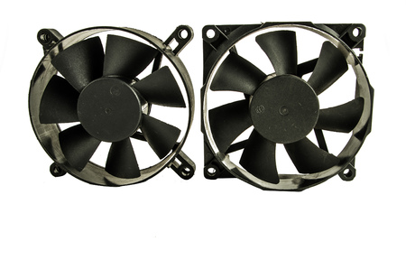grid background: Close up of a black plastic exhaust fan, in a white background