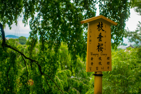 KYOTO, JAPAN - JULY 05, 2017: Informative sign inside of the Zen Garden of Tenryu-ji, Heavenly Dragon Temple. In Kyoto, Japan