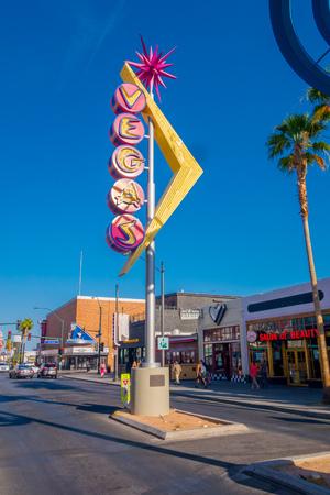 LAS VEGAS, NV - NOVEMBER 21, 2016: Fremont Street with a vegas Sign Editorial