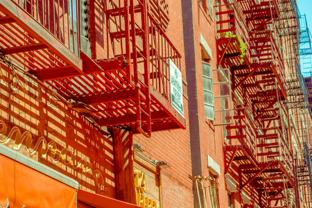 NEW YORK, USA - MAY 05, 2017: The streets of Manhattan New York and specifically the Litle Italy area in New York Usa Editorial