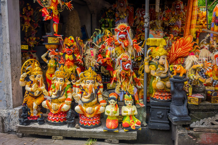 kuta: BALI, INDONESIA - MARCH 08, 2017: Impresive hand made structures, Ogoh-ogoh statue built for the Ngrupuk parade, which takes place on the even of Nyepi day in Bali, Indonesia Editorial