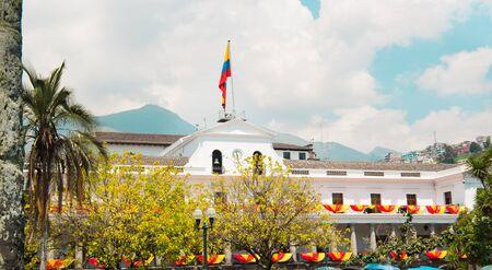 QUITO, ECUADOR- MAY 23, 2017: Presidential Palace at Plaza Grande in Quito Editorial