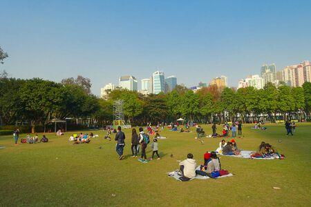 HONG KONG, CHINA - JANUARI 26, 2017: Menigte van mensen, die op het gras, in het park van Victoria in Hongkong rusten. Victoria park is de grootste bloemenmarkt tijdens het Chinese nieuwe jaar. Redactioneel