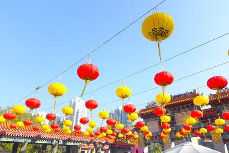 HONG KONG, CHINA - JANUARY 22, 2017: Colorful chinesse lamps hanging in the enter of Wong Tai Sin Temple, Hong Kong, China. Redakční