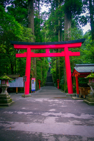 HAKONE, JAPAN - JULY 02, 2017: Red Tori Gate at Fushimi Inari Shrine in Kyoto, Japan Editorial