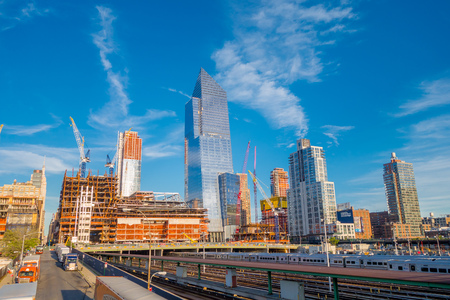NEW YORK, USA - MAY 05, 2017: Beautiful view of Manhattan city with skyscrapers, roads and gorgeous buildings with some new buildings in construction in New York City USA