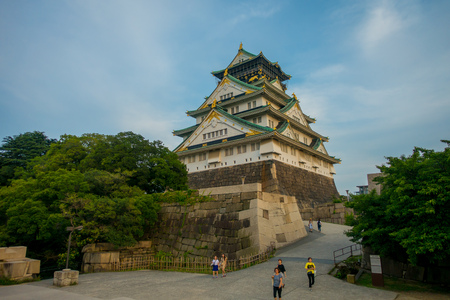 OSAKA, JAPAN - JULY 18, 2017: Osaka Castle in Osaka, Japan. The castle is one of Japans most famous landmarks