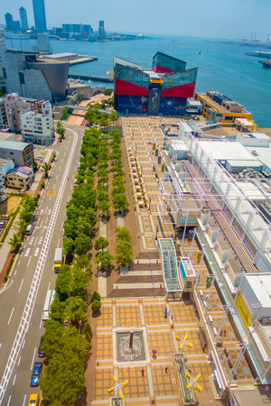 public aquarium: OSAKA, JAPAN - JULY 18, 2017: Aerial view of Aquarium Kaiyukan in Osaka. It is an aquarium located in the ward of Minato in Osaka, Japan, near Osaka Bay. It is one of the largest public aquariums in the world in a sunny day