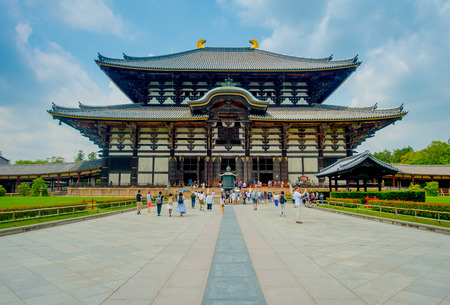 Nara, Japan - July 26, 2017: Todai-ji literally means Eastern Great Temple. This temple is a Buddhist temple located in the city of Nara
