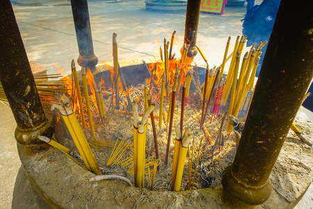 Incense area in Ngong Pin, Lantau Island for visitors to pray in Po Lin Monastery, Lantau Island in Hong Kong Stock Photo