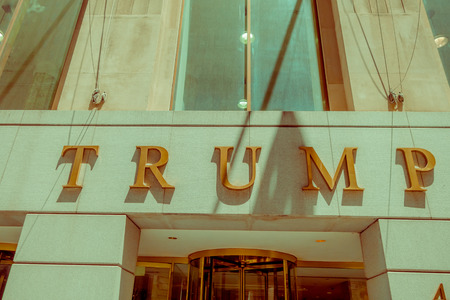 NEW YORK, USA - MAY 05, 2017: The Trump Building on Wall Street. In 1995 President Donald Trump bought the building that is now known as The Trump Building.