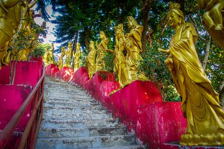 Statues in a row at Ten Thousand Buddhas Monastery in Sha Tin, Hong Kong, China Stock Photo