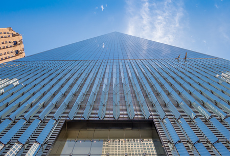 NEW YORK, USA - MAY 05, 2017: One World Trade Center, view from street level located in New York City Usa Editorial