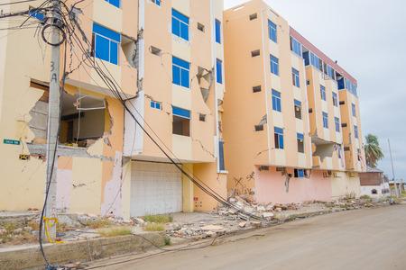 MANTA, ECUADOR- MAY 11, 2017: Building partial destroyed during a strong earthquake measuring 7.8 on the Richter Scale by the April 16Th, 2016 , South America, Manta Ecuador