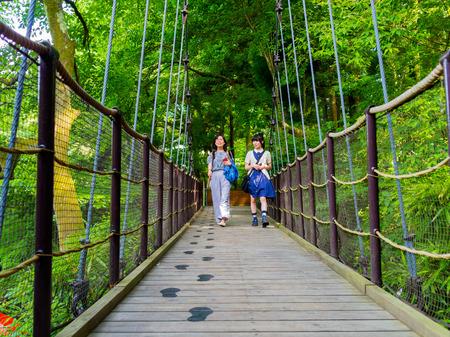 HAKONE, JAPAN - JULY 02, 2017: Unidentified people walking in the bridge at Hakone open air museum. Editorial