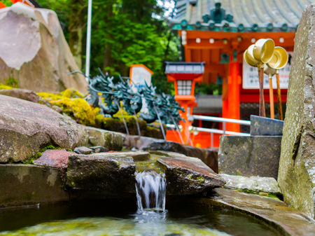 the abbot: HAKONE, JAPAN - JULY 02, 2017: Close up of a pond with a blurred red Tori Gate behind, at Fushimi Inari Shrine in Kyoto, Japan.