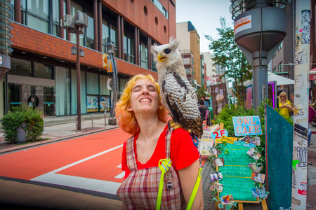 TOKYO, JAPAN JUNE 28 - 2017: Beautiful owl posing over a smiling woman shoulder in the street in Akihabara owl cafe - owls are very popular pets in Japan. Editorial