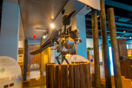 FORT LAUDERDALE, USA - JULY 11, 2017: Indoor view of the Museum of discovery and science with a metallic bird structure located in Fort Lauderdale, Florida Editorial
