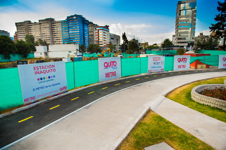 Quito, Pichincha Ecuador - August 10 2017: Beautiful view of the metro construction located inside of the Carolina park, covered the working area with a green protection, at north part of the city of Quito. Editorial