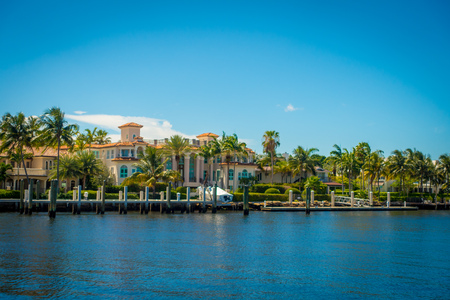 FORT LAUDERDALE, USA - JULY 11, 2017: Beautiful view of new river with riverwalk promenade highrise condominium buildings and yachts in Fort Lauderdale, Florida.