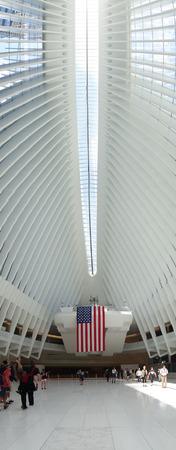 NEW YORK, USA - MAY 05, 2017: Unidentified people looking up at the interior of Santiago Calatravas Oculus New York, the multi-billion dollar transportation hub in lower Manhattan in New York Usa