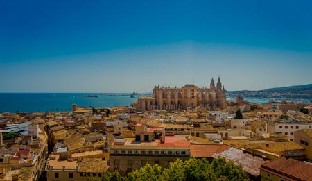 팔마 데 마요르카, 스페인 -8 월 18 일 2017 : 팔 마 드 마요르카, 스페인에서 아름 다운 푸른 화창한 날에 horizont에서 산타 마리아 대성당의 지붕 옥상의  에디토리얼