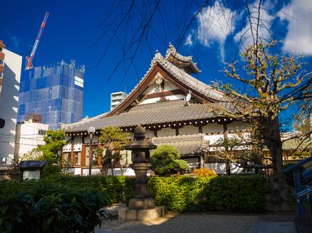 OSAKA, JAPAN - JULY 02, 2017: Beautiful old historical temple at Osaka