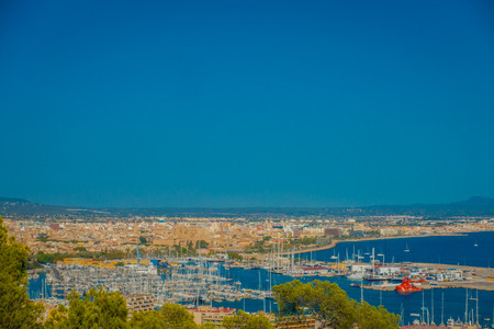 PALMA DE MALLORCA, SPAIN - AUGUST 18 2017: Panoramic view of the city of Palma de Mallorca, in a blue sunny day in Palma de Mallorca, Spain