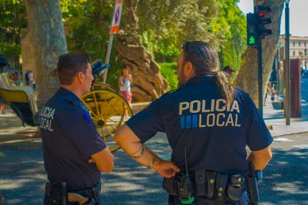 PALMA DE MALLORCA, SPAIN - AUGUST 18 2017: Police officers at Boulevard Born in Palma de Mallorca, Spain, Europe