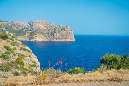 Beautiful view of Mallorca balearic islands, in a beautiful blue sky Spain