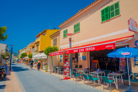 SANT ELM, MALLORCA, SPAIN - AUGUST 18 2017: Sant Elm City, quaint shopping street in the small town of San Telmo, Mallorca, Spain
