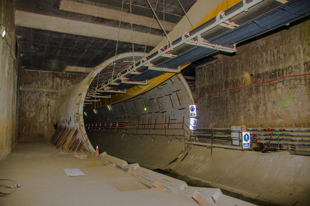 southamerica: Quito, Pichincha Ecuador - August 27 2017: Indoor view of the tunnel of the metro construction located inside of the Bicentenario park, at north part of the city of Quito