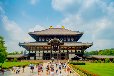 Nara, Japan - July 26, 2017: Crowd of people at the enter of Todai-ji literally means Eastern Great Temple. This temple is a Buddhist temple located in the city of Nara