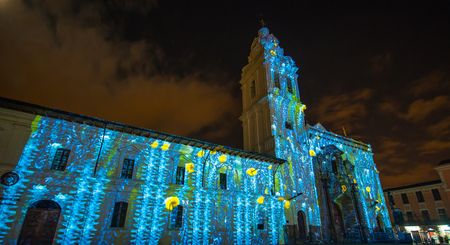 Quito, Pichincha Ecuador - August 9 2017: Close up of spectacle of lights projected on the facade of Church of Santo Domingo, during the Quito light festival Editorial