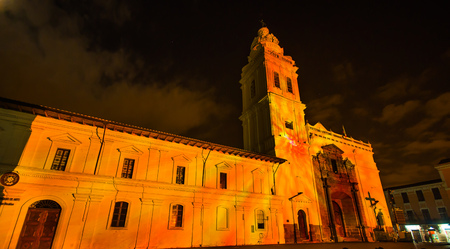 Quito, Pichincha Ecuador - August 9 2017: Close up of spectacle of orange lights projected on the facade of Church of Santo Domingo, during the Quito light festival