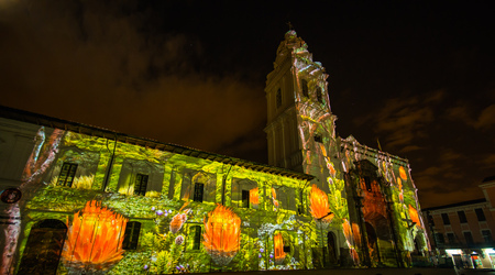 Quito, Pichincha Ecuador - August 9 2017: Close up of spectacle of lights projected on the facade of Church of Santo Domingo, of achupallas, during the Quito light festival