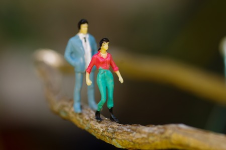 Close up of a miniature little people couple at outdoors, walking in a branch in a blurred background Stock Photo