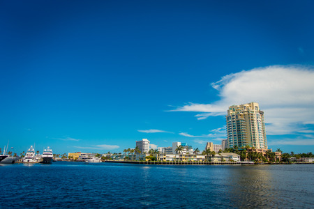 FORT LAUDERDALE, USA - JULY 11, 2017: Beautiful view of the city of Fort Lauderdale in the horizont with condominium buildings, in Fort Lauderdale, Florida
