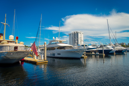 FORT LAUDERDALE, USA - JULY 11, 2017: A line of boats displayed for sale at the Fort Lauderdale