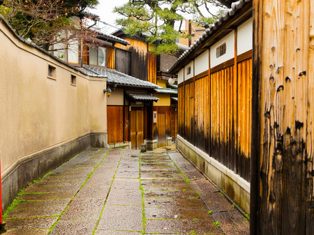 Close up of a wet path in the city of Higashiyama district in the springtime in Kyoto Stock Photo