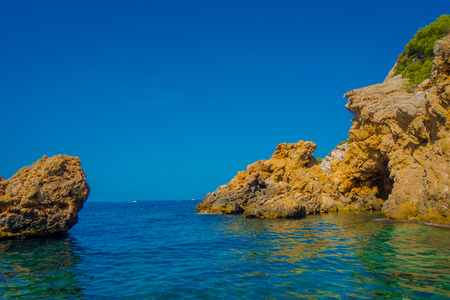 Beautiful view of the blue water and a beautiful blue sky, in Port D Andratx, located in Mallorca balearic islands, Spain