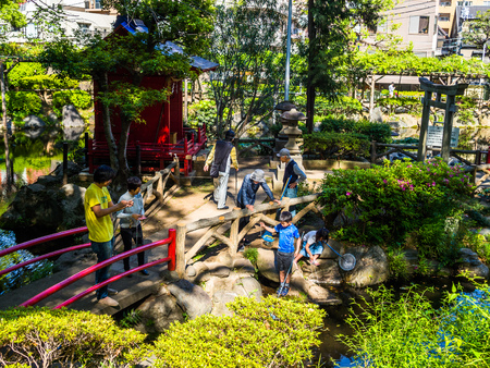 KYOTO, JAPAN - JULY 05, 2017: Unidentified people Enter of a stylized japanesse temple in Kyoto