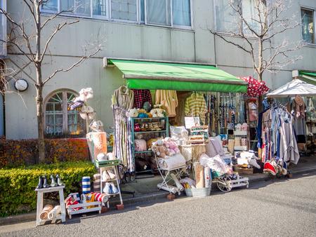 Kawagoe, Japan - May 14, 2017: Close up of shops and stores, which used to be the old warehouse, in Kawagoe, Japan