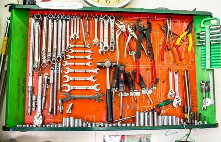 wirecutters: TOKYO, JAPAN JUNE 28 - 2017: Complete tools and pliers, inside of a container Editorial