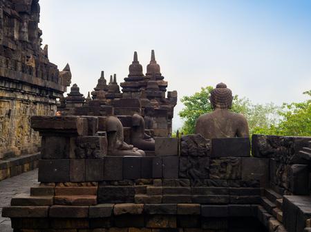 Stoned path at Prambanan temple near Yogyakarta on Java island Indonesia