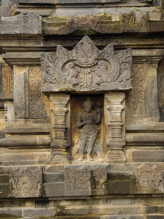 Detail of Makara of Candi Siwa Shiva Temple in Prambanan temple complex. 9th century Hindu temple compound located near Yogyakarta on Central Java, Indonesia