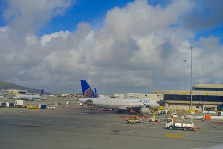 SAN FRANCISCO, CALIFORNIA - APRIL 13, 2014: United Airlines planes at the Terminal 3 in San Francisco International Airport.