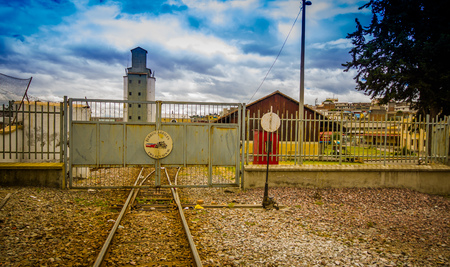 QUITO, ECUADOR AUGUST 20 2017: Close-up of railway at the train station of Chimbacalle Quito in Pichincha. It is the starting point of many luxury train journeys in the volcanic area Editorial