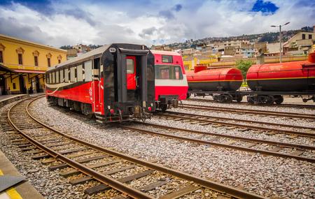 southamerica: QUITO, ECUADOR AUGUST 20 2017: Ecuadorian steam colomotive in chinbacalle trains museum, located in the city of Quito, Ecuador